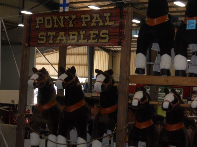 The trade fair opened at 9.   Anything you want is available at the trade fair, including these ridiculously adorable Pony Pals.  They are rideable!