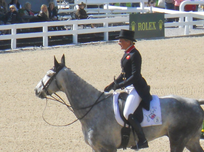 Mary King leaving the ring after a beautiful test.  Sally O'Connor said she had the best shoulder in of the event so far in the competition.